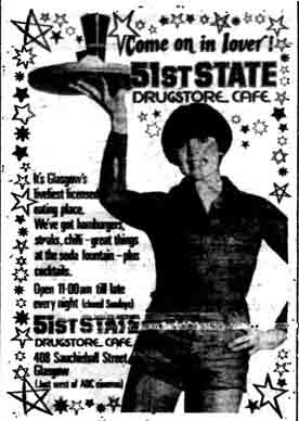51st State Drugstore Cafe advert 1977