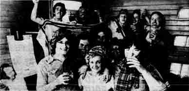 Cairns Bar interior with large group of customers 1978