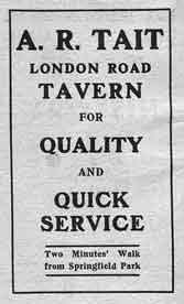 Advert for the London Road Tavern