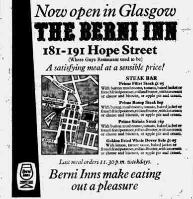 Berni Inn advert 1971