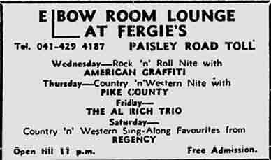 Fergie's Elbow Room ad 1977