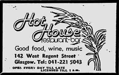 Hot House advert West Regent Street Glasgow