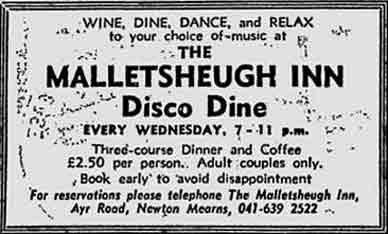 Malletsheugh Inn advert 1978