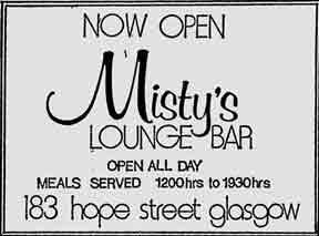 Misty's bar 183 Hope Street advert 1979