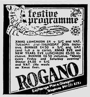 Rogano advert 1976