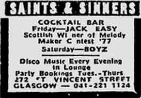 Saints and Sinners advert 1977