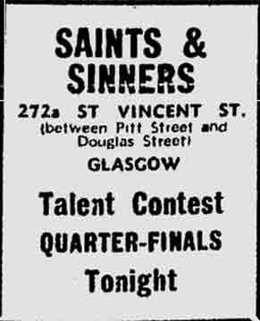 Saints and Sinners advert 1974