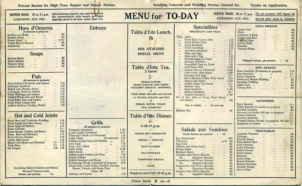 City Cafe Menu Glasgow