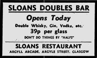 Sloans Doubles Bar advert 1975