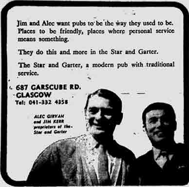 Star and Garter advert 1971