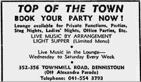 Top of the Town Advert 1975