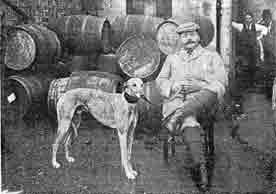 William Sutherland with his pet greyhound