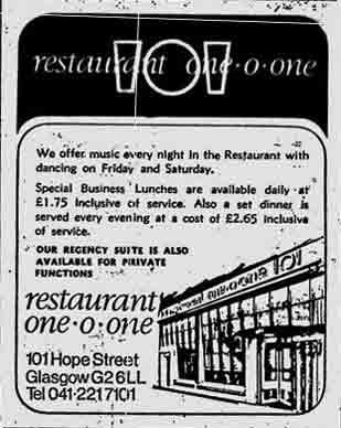 One -O-One Bath Street 1974 advert