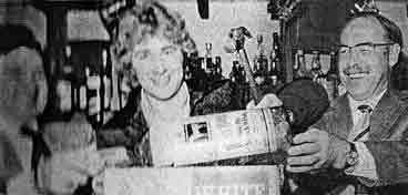 Alan Rough smashes a bottle at His Nibs 1979