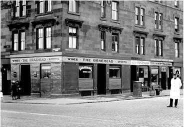 exterior view of the Baehead Bar Rutherglen Road. 1930s.