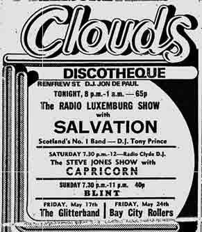 Clouds disco advert 1974