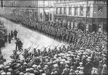 H.L.I troops march by Lauders in Sauchiehall Street