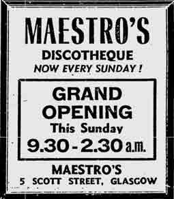 Maestro's 5 Scott Street advert 1975
