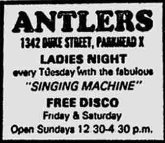 Antlers Duke Street ad 1984