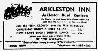 Arkelston Inn advert 1970