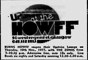 Burns Howff advert 1977