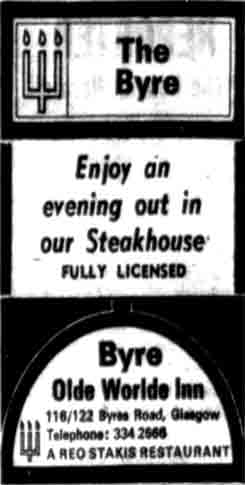 Byre Advert 1970