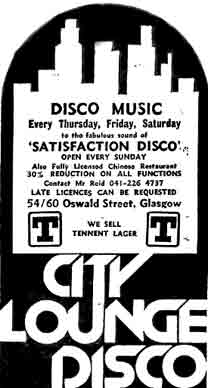 City Lounge Disco 1979 advert