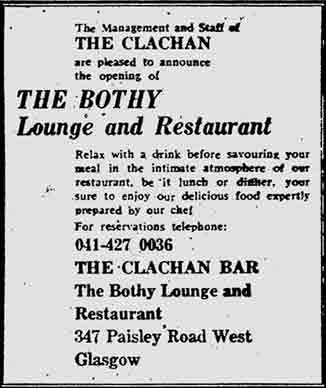 Clachan Paisley Road West  advert 1974