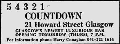 Count Down advert 21 Howard Street Glasgow 1979