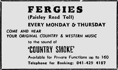 Fergie's Bar Paisley Road Toll advert 1975