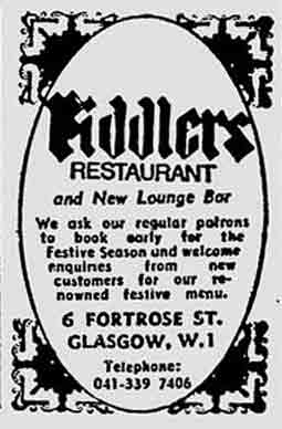 Fiddlers Restaurant advert 1976
