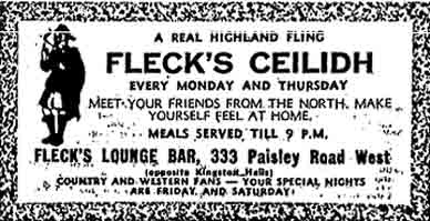 Fleck's Bar advert 1970