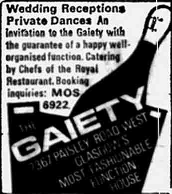 Gaiety Advert 1970