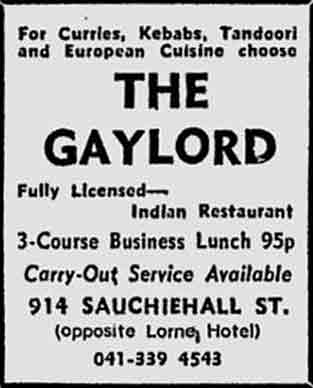 Gaylord advert 1978