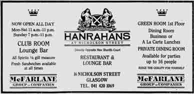 Hanrahans advert 1988