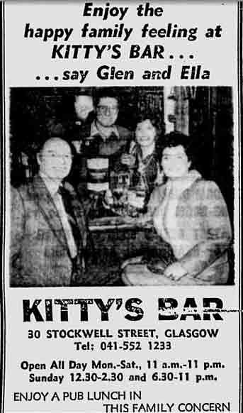 Kitty's Bar advert Stockwell Street 1979