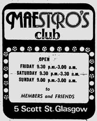 Maestro's night club advert 1976