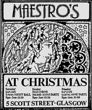 Maestro's club Christmas 1976 ad