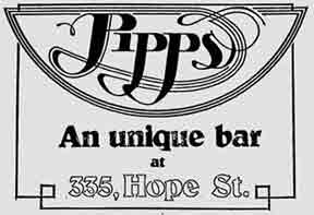 Pipps bar 335 Hope Street 1979 advert