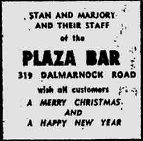 Plaza Bar advert 1974