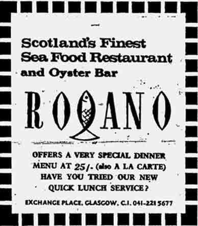 Rogano Advert 1970