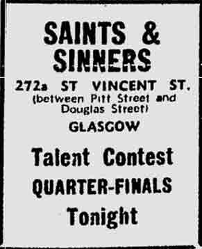 Saints and Sinners advert 1974