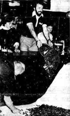 Danny McGrain pushing over coines at Sammy Dows 1978