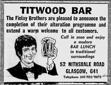 Titwood Bar advert 1978